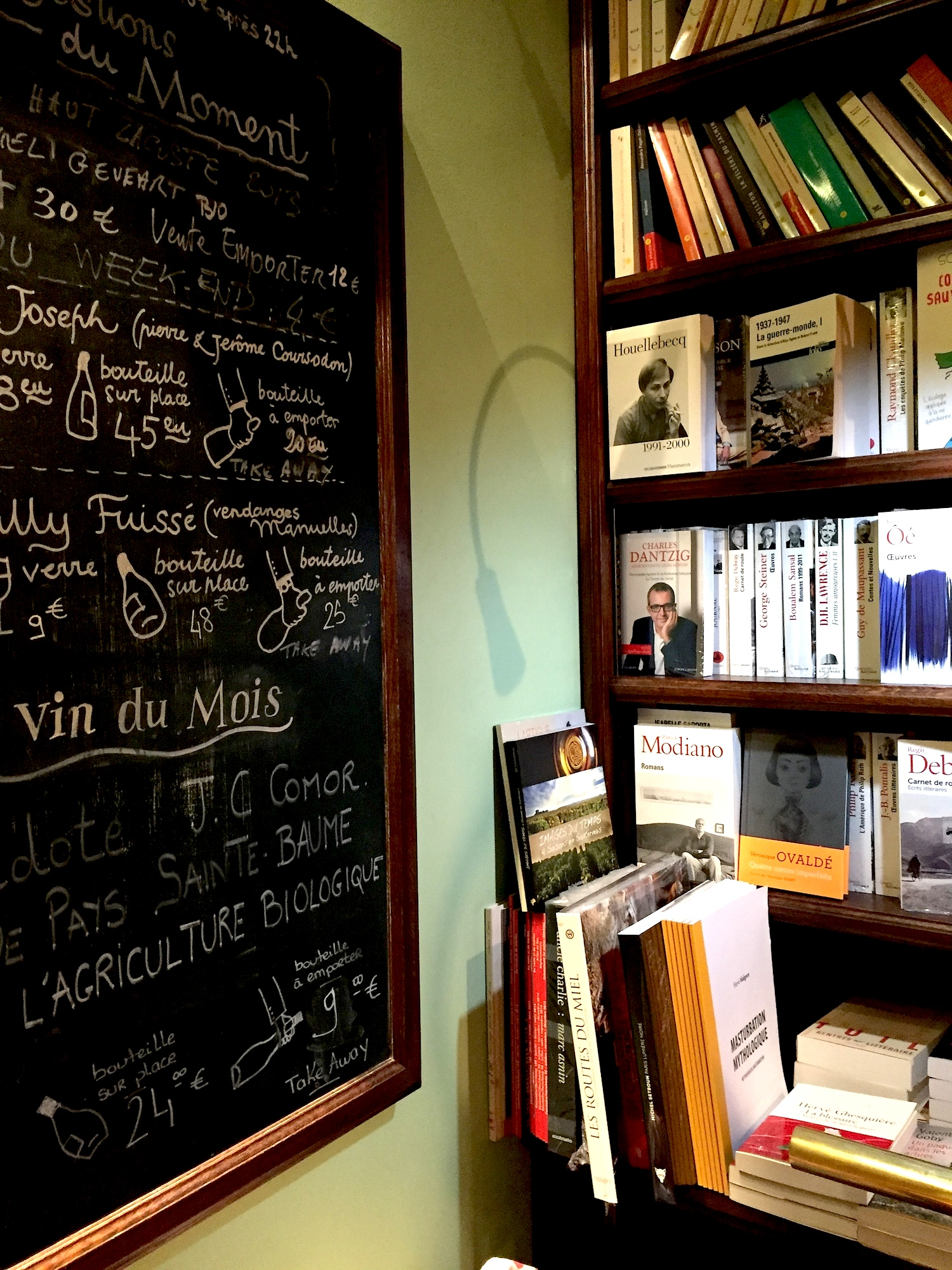 wine bar bookshop in Marais
